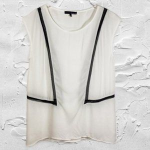 Ro & De Sheer White & Black Sleeveless Blouse Sz M